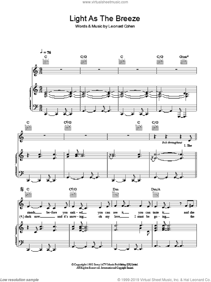 Light As The Breeze sheet music for voice, piano or guitar by Leonard Cohen. Score Image Preview.
