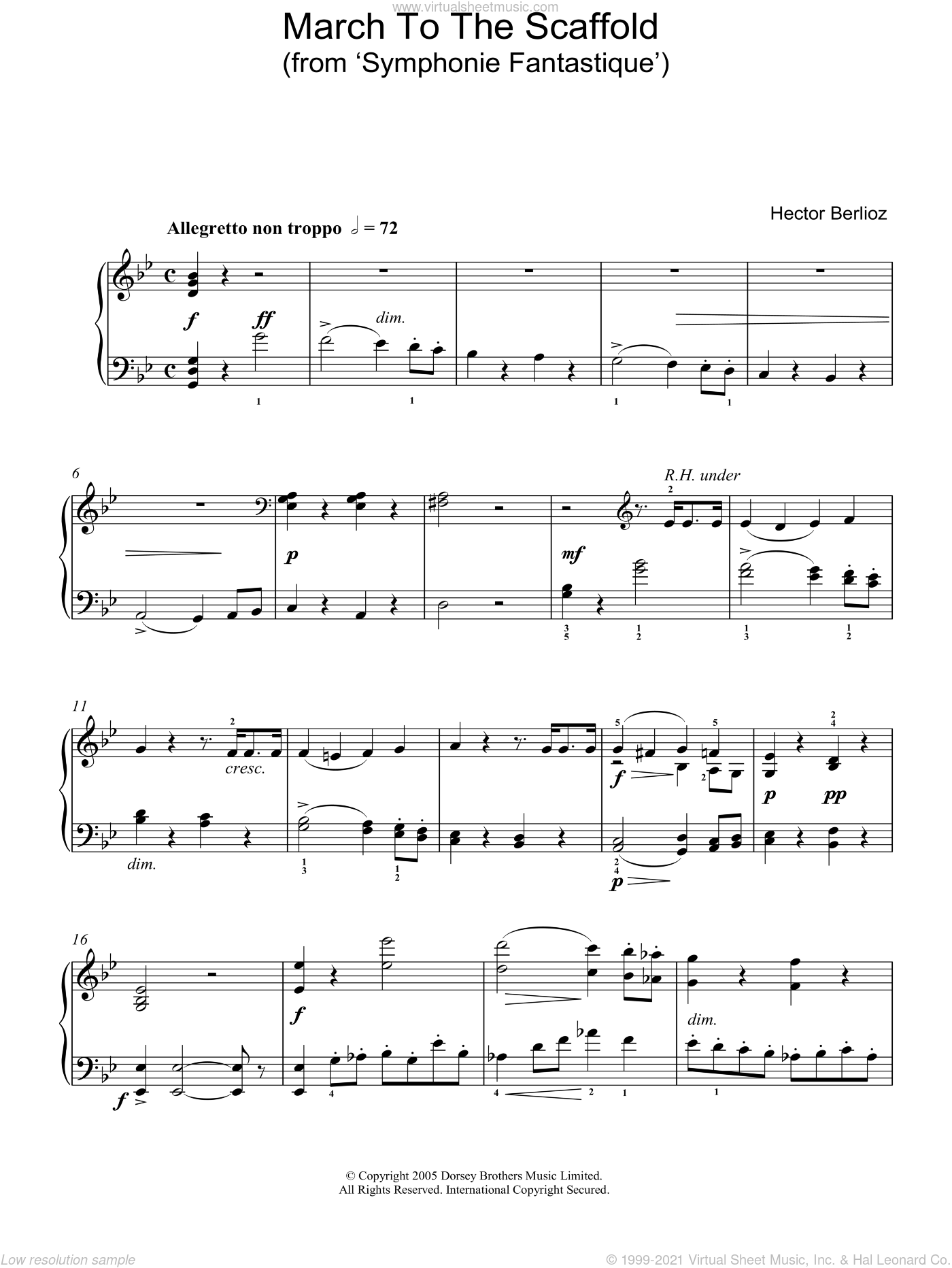 March To The Scaffold (from Symphonie Fantastique) sheet music for piano solo by Hector Berlioz. Score Image Preview.