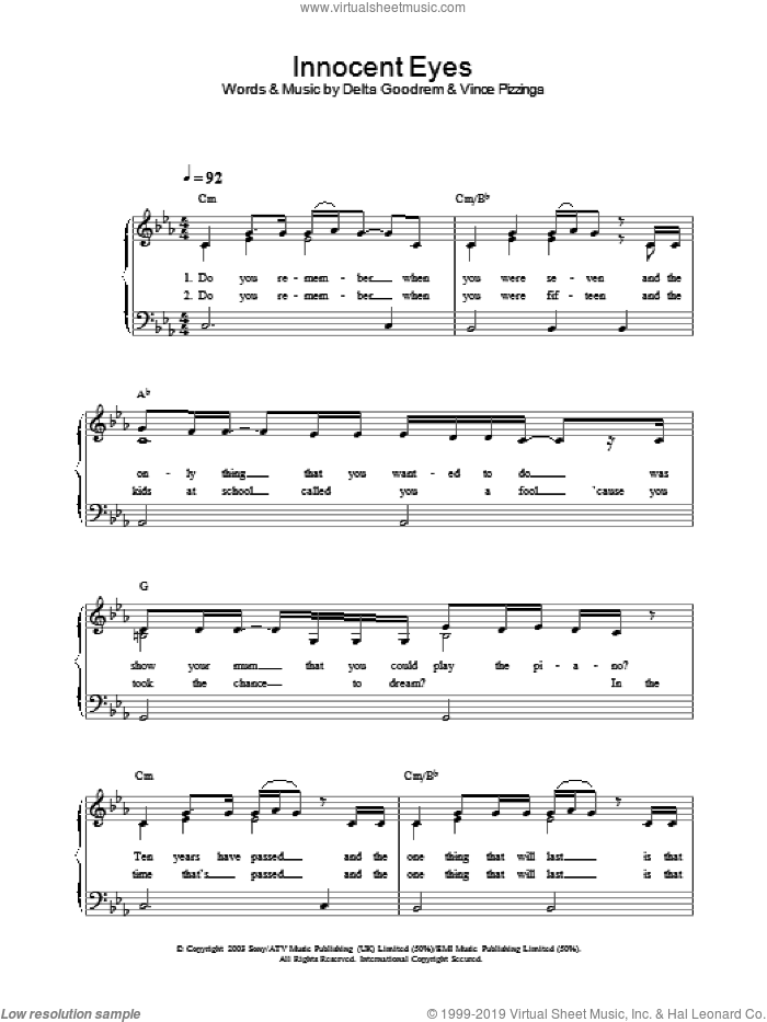 Innocent Eyes, (Intermediate) sheet music for piano solo by Delta Goodrem, intermediate. Score Image Preview.