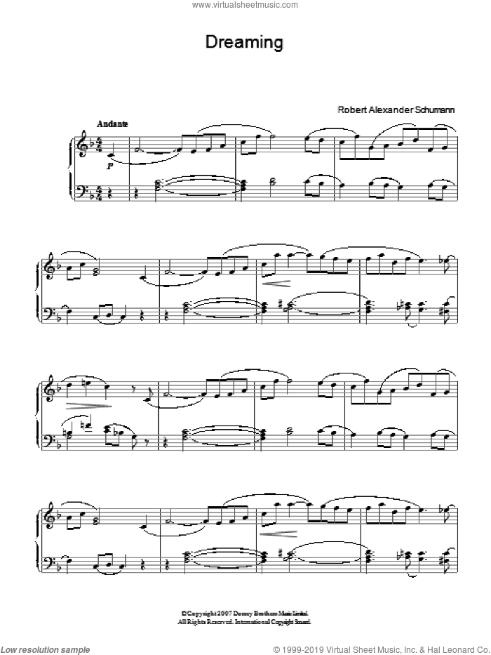 Dreaming sheet music for piano solo by Robert Schumann. Score Image Preview.