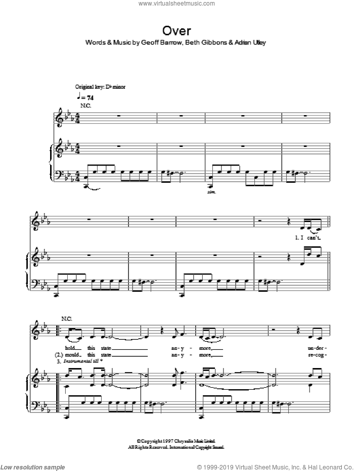 Over sheet music for voice, piano or guitar by Portishead, Adrian Utley, Beth Gibbons and Geoff Barrow, intermediate skill level