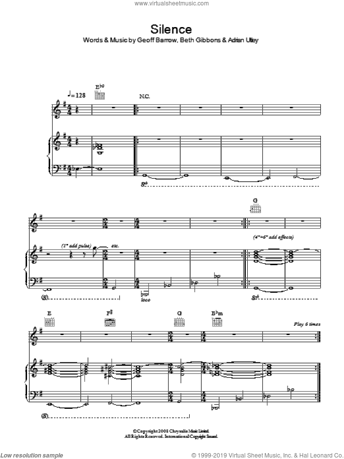 Silence sheet music for voice, piano or guitar by Portishead, Adrian Utley, Beth Gibbons and Geoff Barrow, intermediate skill level
