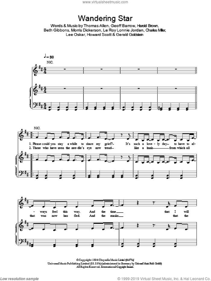 Wandering Star sheet music for voice, piano or guitar by Portishead, Beth Gibbons, Charles Miller, Geoff Barrow, Gerald Goldstein, Harold Brown, Howard Scott, Le Roy Lonnie Jordan, Lee Oskar, Morris Dickerson and Thomas Allen, intermediate skill level