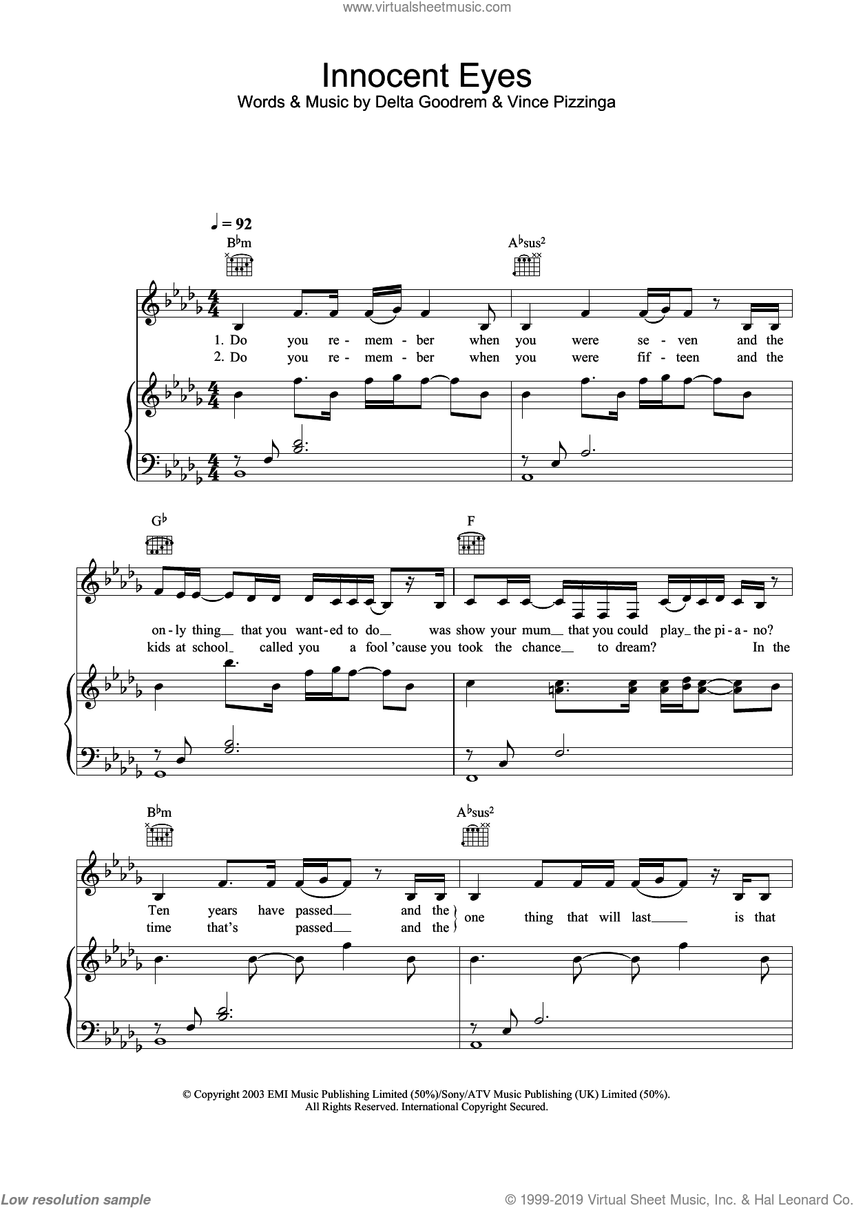 Innocent Eyes sheet music for voice, piano or guitar by Delta Goodrem and Vince Pizzinga, intermediate skill level