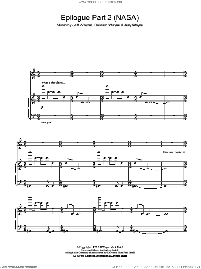 Epilogue (Part 2) (NASA) (from War Of The Worlds) sheet music for voice, piano or guitar by Jeff Wayne, intermediate. Score Image Preview.