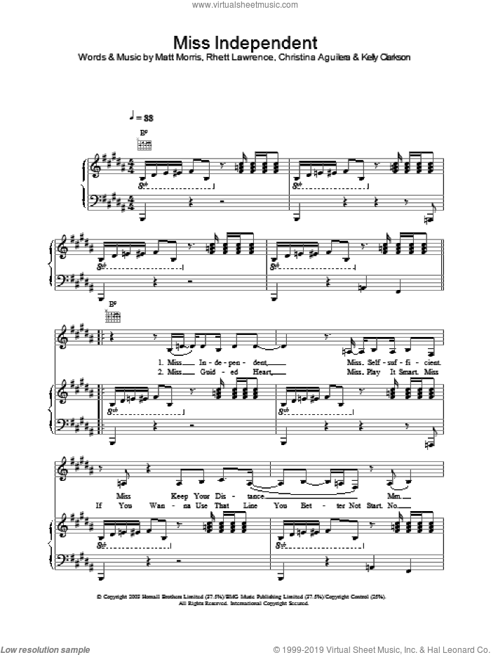 Miss Independent sheet music for voice, piano or guitar by Kelly Clarkson. Score Image Preview.