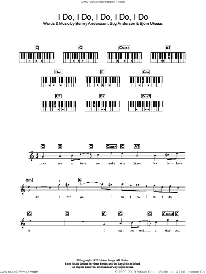 I Do, I Do, I Do, I Do, I Do sheet music for voice and other instruments (fake book) by Stig Anderson, ABBA, Benny Andersson and Bjorn Ulvaeus. Score Image Preview.