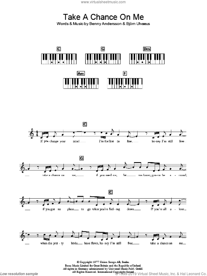 Take A Chance On Me sheet music for voice and other instruments (fake book) by ABBA and Benny Andersson, intermediate skill level