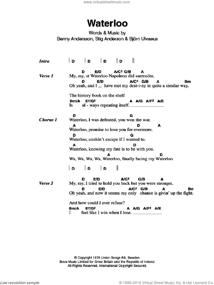 Waterloo sheet music for guitar (chords, lyrics, melody) by Stig Anderson