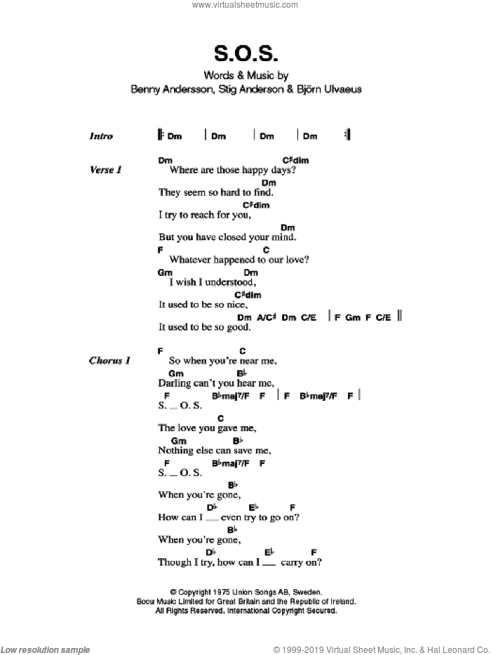 S.O.S. sheet music for guitar (chords) by ABBA, Benny Andersson and Stig Anderson, intermediate. Score Image Preview.