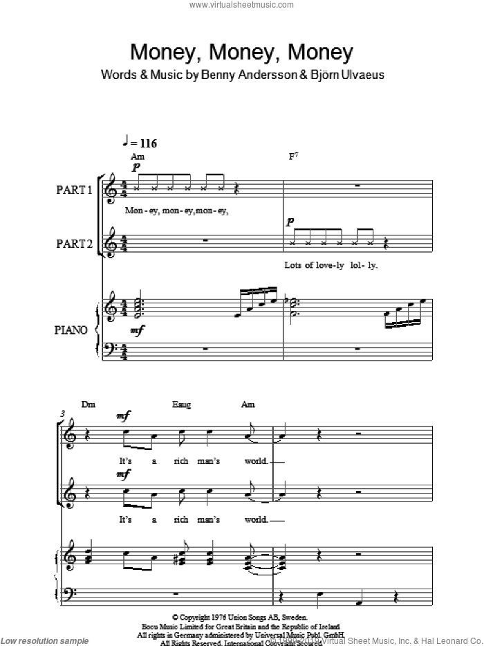 Money, Money, Money (arr. Rick Hein) sheet music for choir (2-Part) by ABBA, Rick Hein, Benny Andersson and Bjorn Ulvaeus, intermediate duet