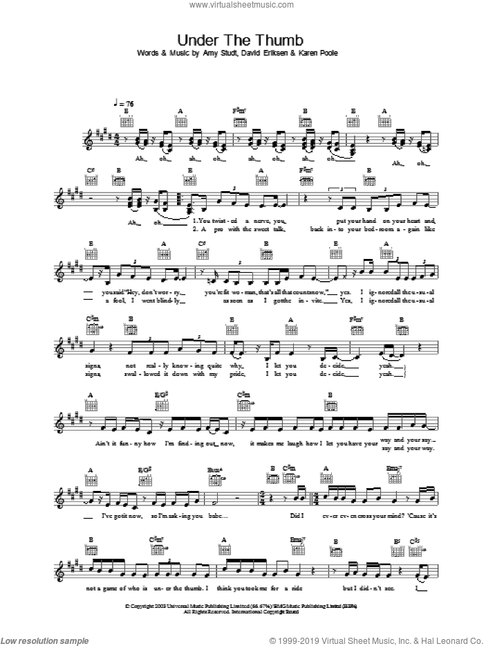 Under The Thumb sheet music for voice and other instruments (fake book) by Amy Studt. Score Image Preview.