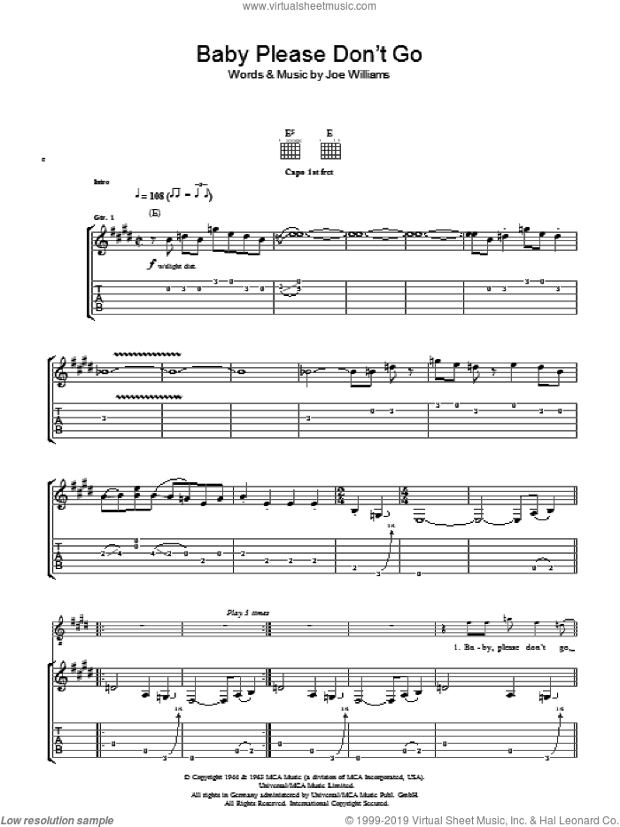 Baby, Please Don't Go sheet music for guitar (tablature) by Them and Joe Williams, intermediate. Score Image Preview.