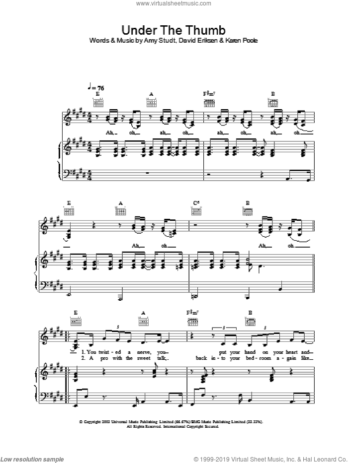 Under The Thumb sheet music for voice, piano or guitar by Amy Studt. Score Image Preview.