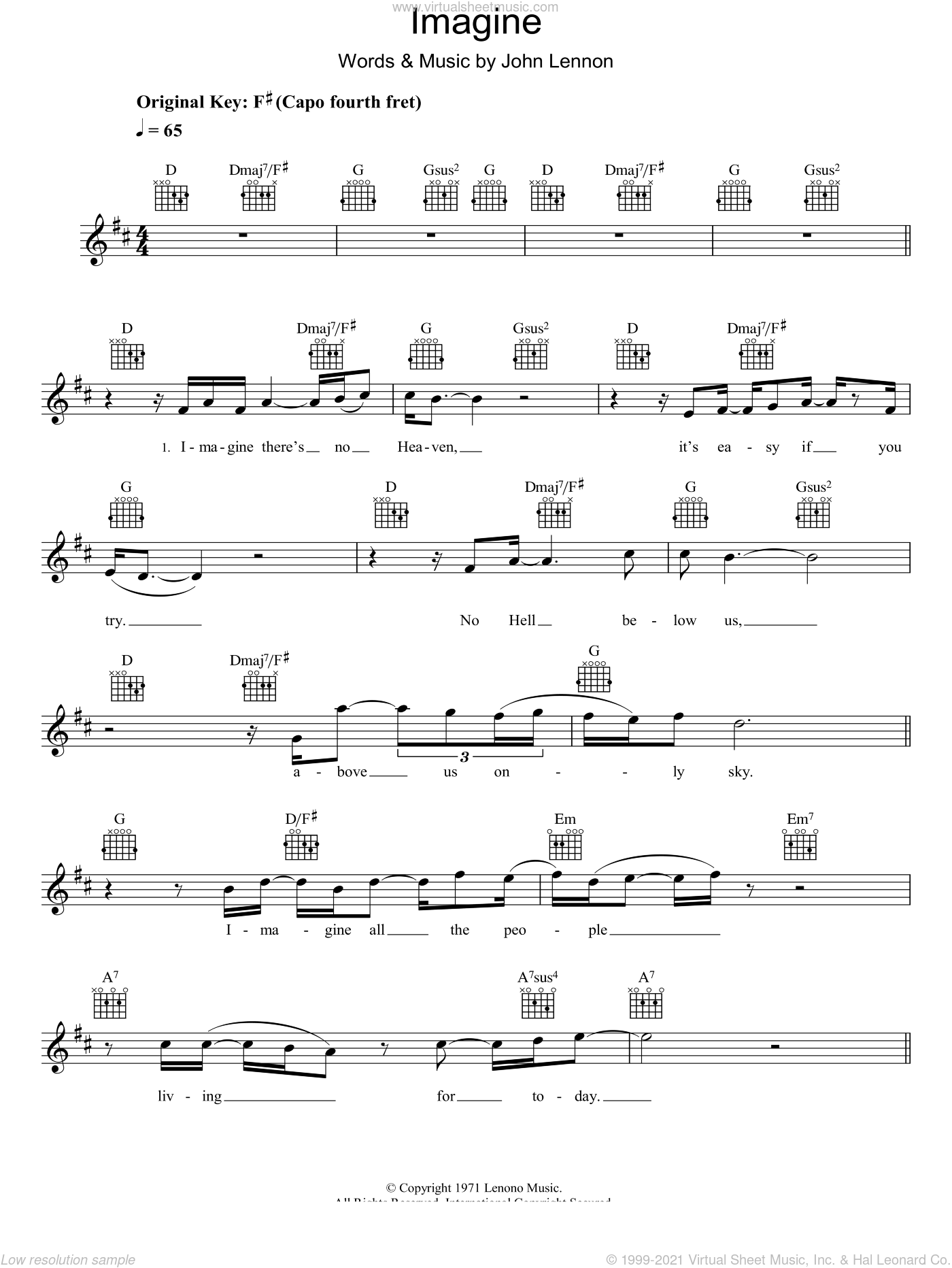 Imagine sheet music for voice and other instruments (fake book) by Eva Cassidy and John Lennon, intermediate skill level