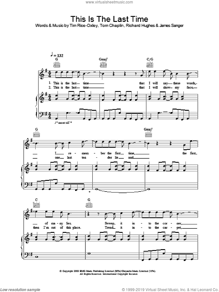 This Is The Last Time sheet music for voice, piano or guitar by Tim Rice-Oxley, intermediate skill level