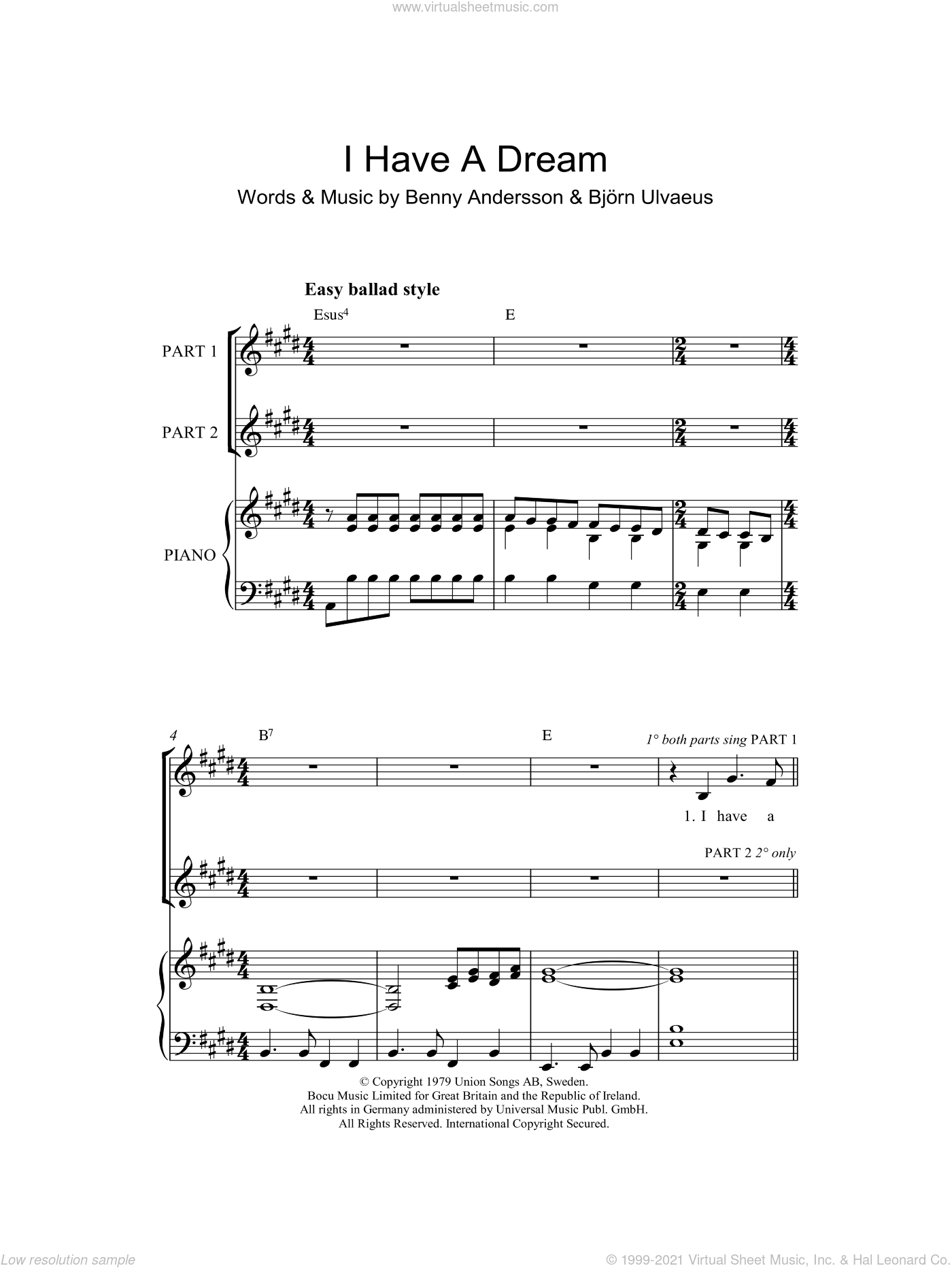 I Have A Dream (arr. Rick Hein) sheet music for choir (2-Part) by ABBA, Rick Hein, Benny Andersson and Bjorn Ulvaeus, intermediate duet