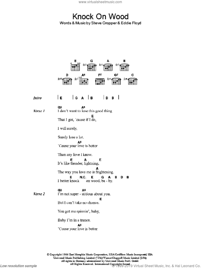 Knock On Wood sheet music for guitar (chords) by Eddie Floyd and Steve Cropper, intermediate