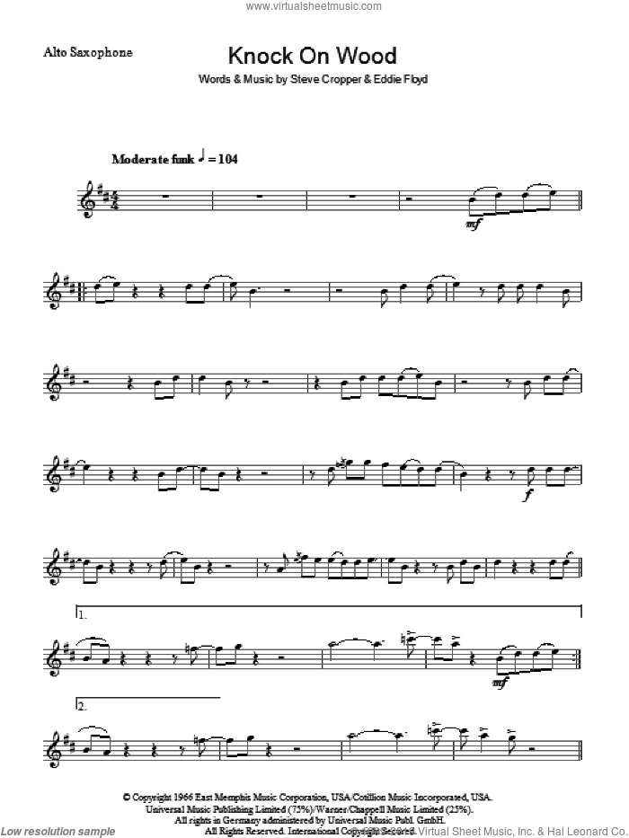 Knock On Wood sheet music for voice and other instruments (fake book) by Eddie Floyd and Steve Cropper, intermediate skill level