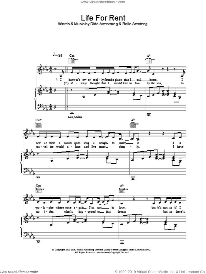 Life For Rent sheet music for voice, piano or guitar by Dido Armstrong, intermediate skill level