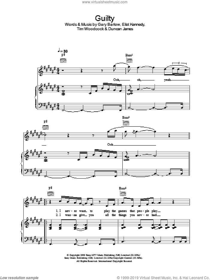 Guilty sheet music for voice, piano or guitar. Score Image Preview.