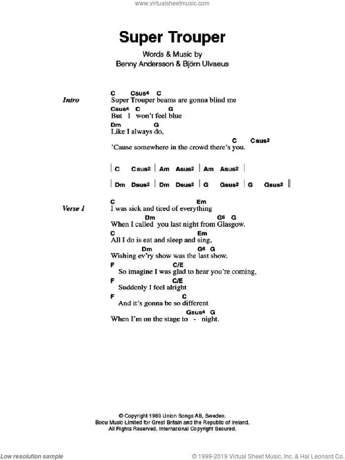 Super Trouper sheet music for guitar (chords) by ABBA, Benny Andersson, Bjorn Ulvaeus and Miscellaneous, intermediate. Score Image Preview.