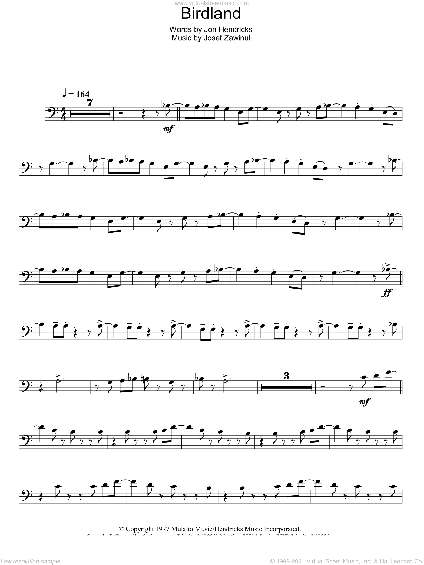 Birdland sheet music for voice, piano or guitar by Weather Report, Josef Zawinul and Jon Hendricks, intermediate. Score Image Preview.
