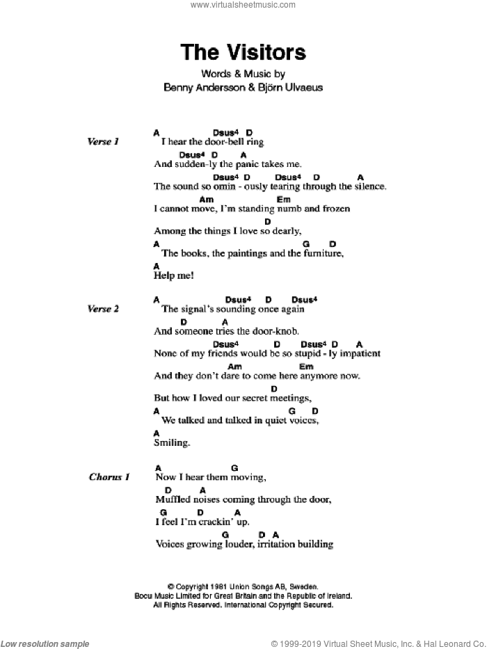 Abba The Visitors Sheet Music For Guitar Chords Pdf
