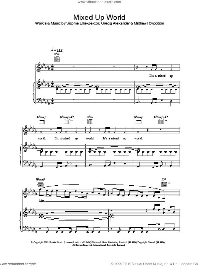 Mixed Up World sheet music for voice, piano or guitar by Sophie Ellis-Bextor, intermediate. Score Image Preview.