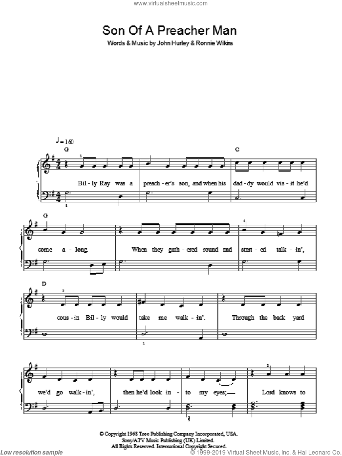 Son Of A Preacher Man sheet music for piano solo by John Hurley, Dusty Springfield and Ronnie Wilkins. Score Image Preview.
