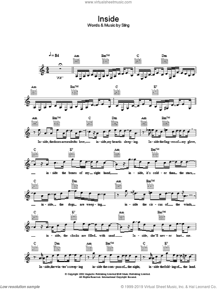 Inside sheet music for voice and other instruments (fake book) by Sting. Score Image Preview.