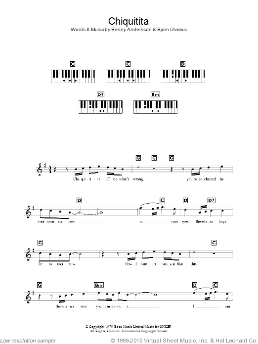 Chiquitita sheet music for piano solo (chords, lyrics, melody) by Bjorn Ulvaeus
