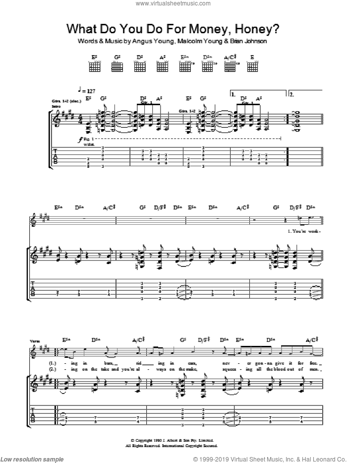 What Do You Do For Money, Honey? sheet music for guitar (tablature) by AC/DC, Angus Young, Brian Johnson and Malcolm Young, intermediate