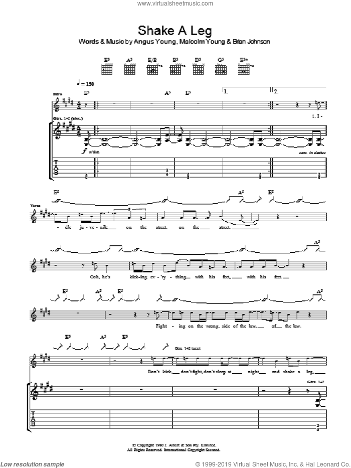 Shake A Leg sheet music for guitar (tablature) by Angus Young, AC/DC and Malcolm Young. Score Image Preview.