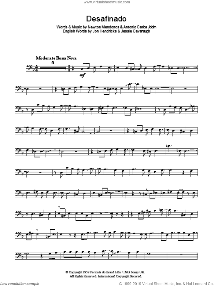 Desafinado (Slightly Out Of Tune) sheet music for voice, piano or guitar by Antonio Carlos Jobim, Jessie Cavanaugh, Jon Hendricks and Newton Mendonca, intermediate