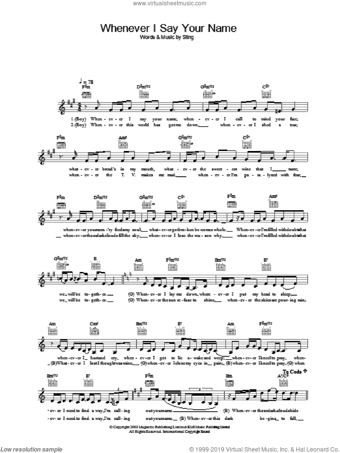 Whenever I Say Your Name sheet music for voice and other instruments (fake book) by Sting