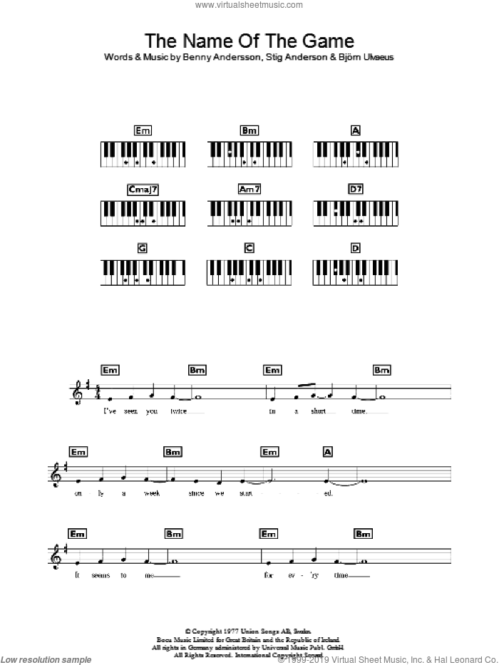 The Name Of The Game sheet music for piano solo (chords, lyrics, melody) by ABBA, Benny Andersson and Stig Anderson