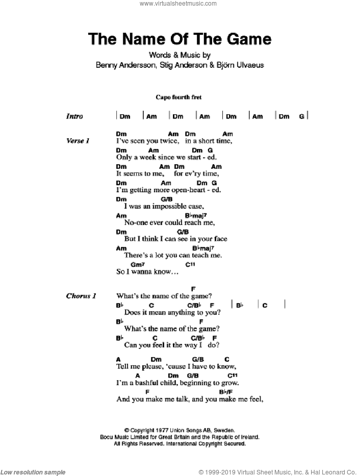 The Name Of The Game sheet music for guitar (chords) by ABBA, Benny Andersson, Bjorn Ulvaeus, Miscellaneous and Stig Anderson, intermediate skill level
