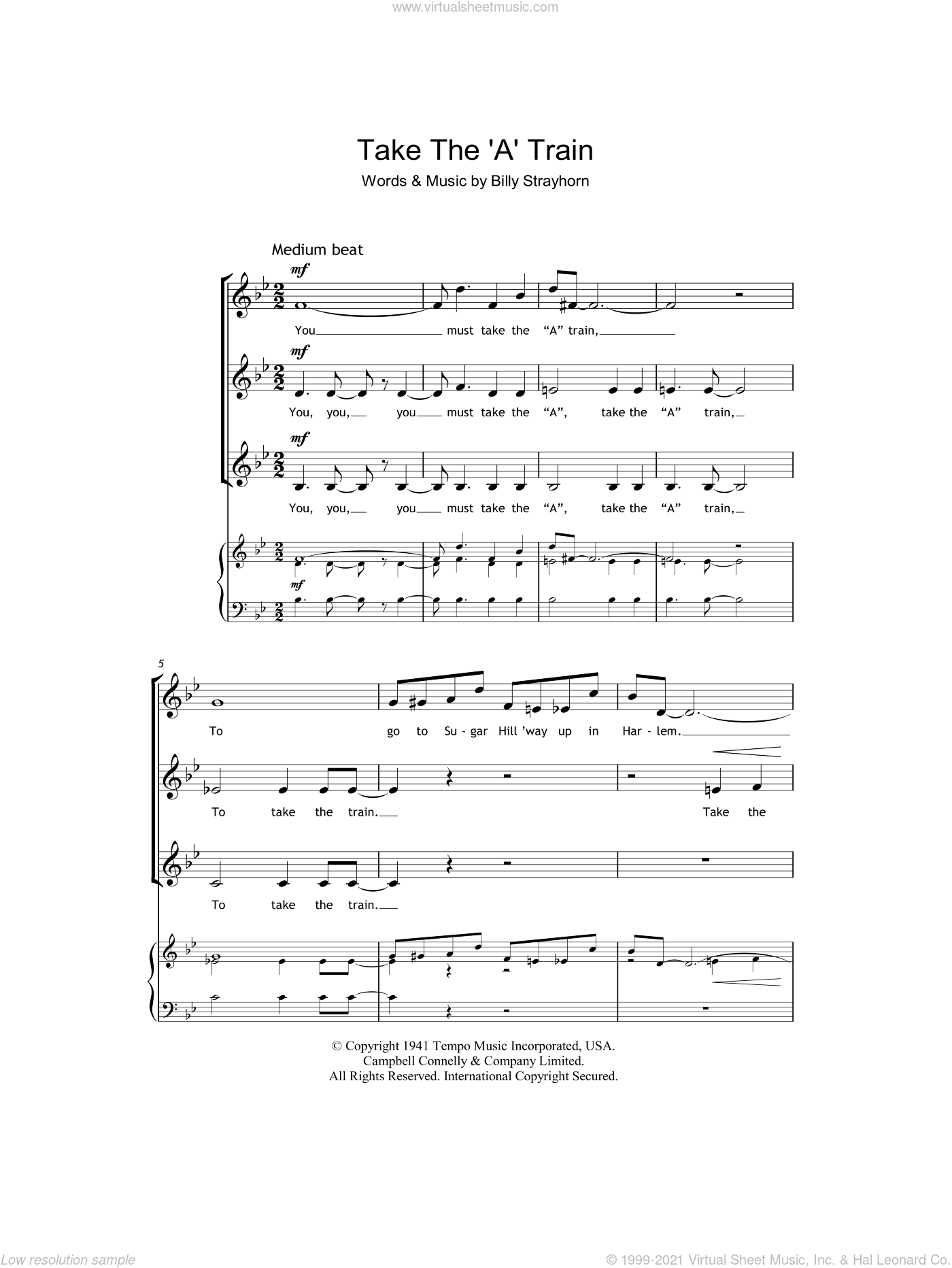 Take The 'A' Train sheet music for choir (soprano voice, alto voice, choir) by Duke Ellington and Billy Strayhorn. Score Image Preview.