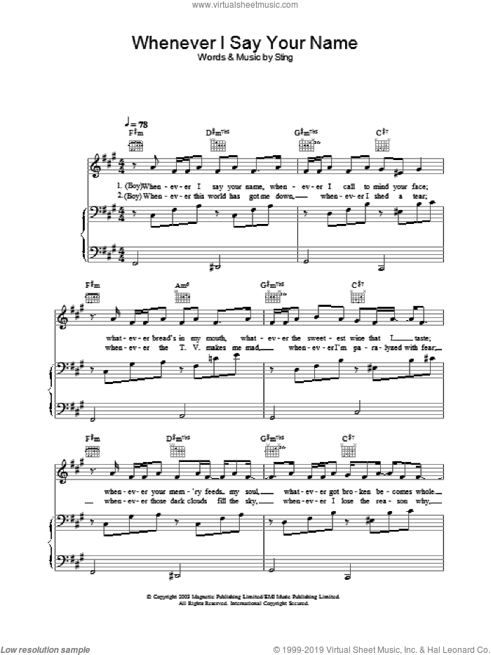 Whenever I Say Your Name sheet music for voice, piano or guitar by Sting
