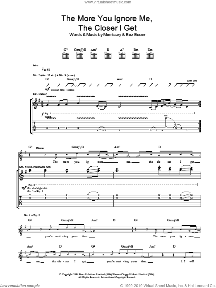 The More You Ignore Me, The Closer I Get sheet music for guitar (tablature) by Boz Boorer and Steven Morrissey. Score Image Preview.