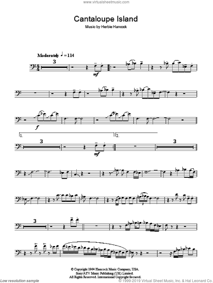 Cantaloupe Island sheet music for voice, piano or guitar by Herbie Hancock, intermediate voice, piano or guitar. Score Image Preview.