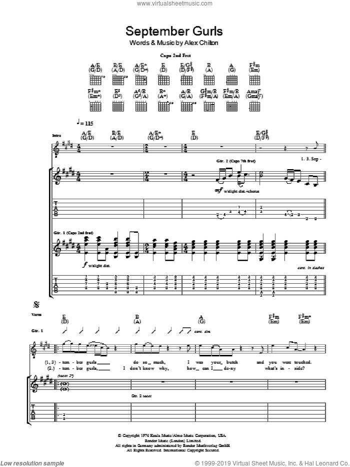 September Gurls sheet music for guitar (tablature) by Alex Chilton. Score Image Preview.