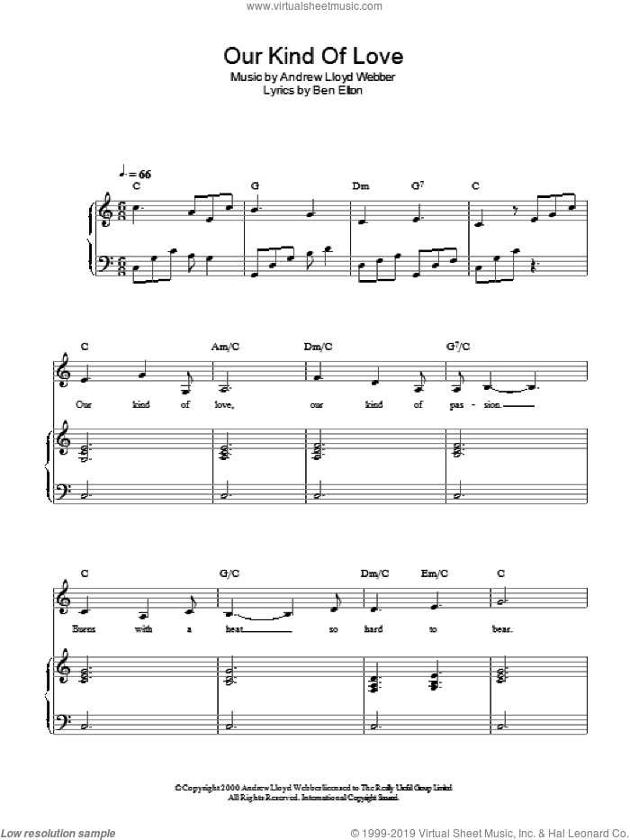 Our Kind Of Love sheet music for piano solo by Ben Elton