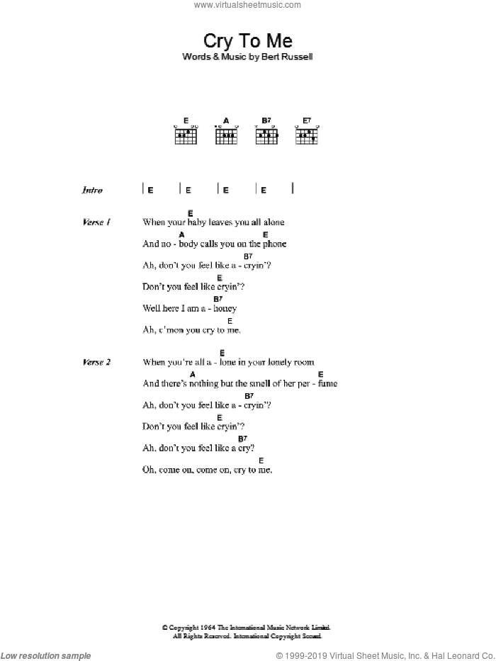 Cry To Me sheet music for guitar (chords) by Solomon Burke, intermediate guitar (chords). Score Image Preview.