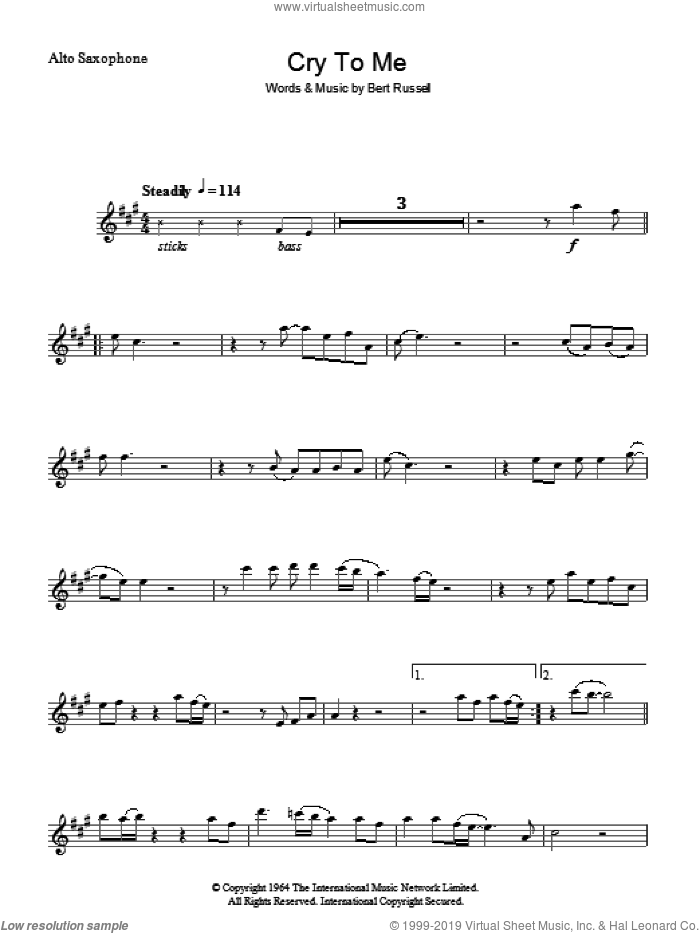 Cry To Me sheet music for voice and other instruments (fake book) by Solomon Burke and Bert Russell, intermediate skill level