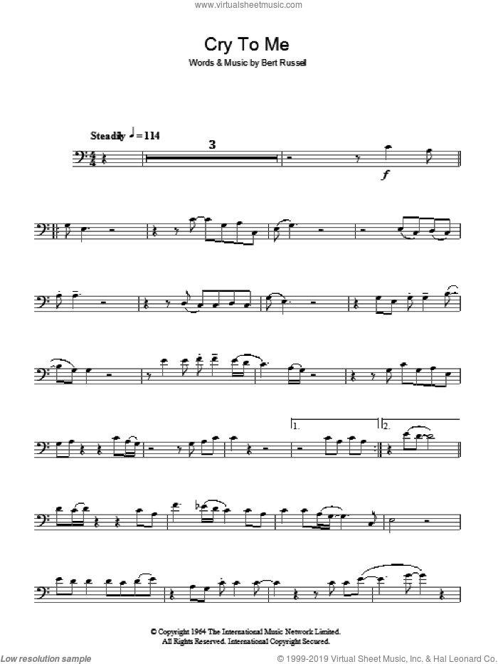 Cry To Me sheet music for voice, piano or guitar by Solomon Burke and Bert Russell, intermediate skill level