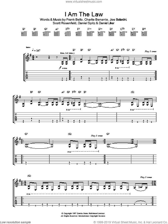 I Am The Law sheet music for guitar (tablature) by Charlie Benante and Scott Rosenfeld