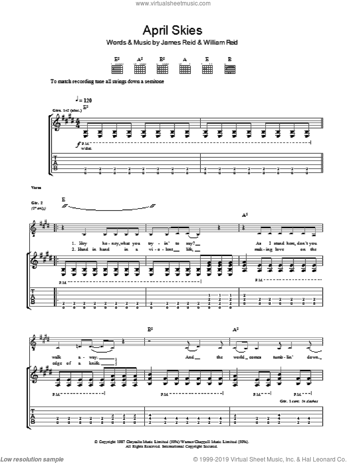 April Skies sheet music for guitar (tablature) by James Reid and William Reid. Score Image Preview.