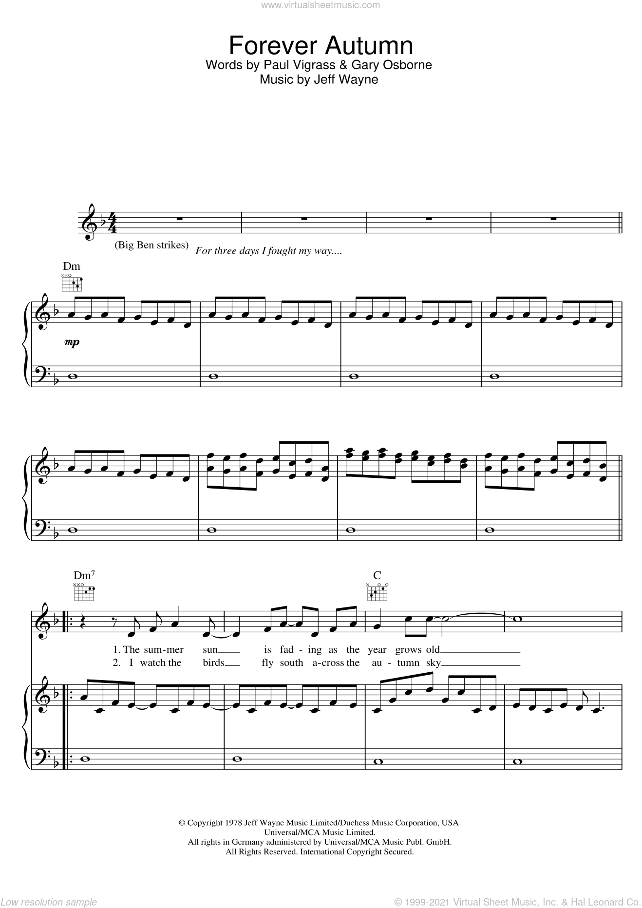 Forever Autumn (from War Of The Worlds) sheet music for voice, piano or guitar by Paul Vigrass